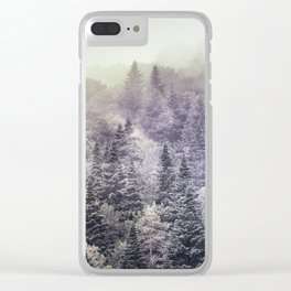Suprise sunrise. Into the foggy woods. Clear iPhone Case