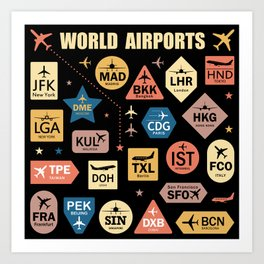 Print for Travelers: Codes of Main World Airports Art Print