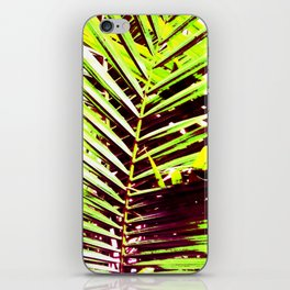Palm Leaves, Bright Green, Yellow and Magenta iPhone Skin