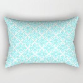 Damask (Aqua & White Pattern) Rectangular Pillow