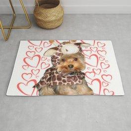 Dog Giraffe Costume | Yorkie with Hearts | Nadia Bonello Rug