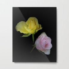 flowers on black - yellow and pink rosebud Metal Print