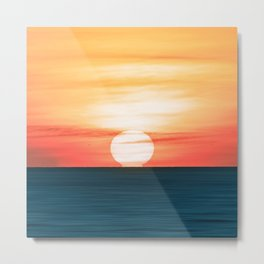Where the sun kisses the ocean sunset time Metal Print