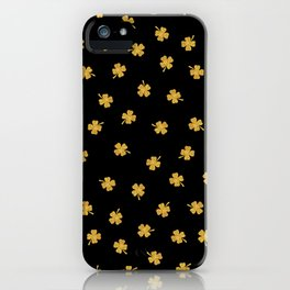 Golden shamrocks Black Background iPhone Case