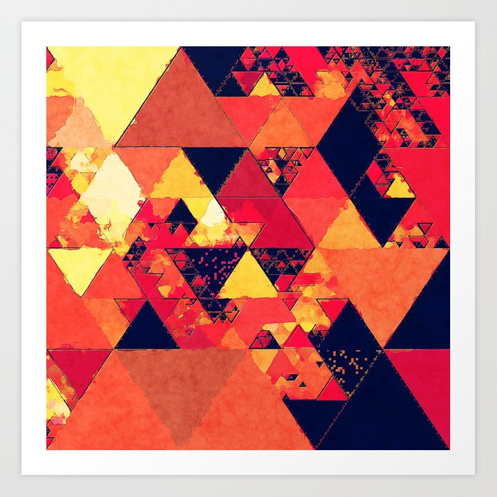 Pure fire- Red yellow black abstract Triangle pattern- Watercolor Illustration Art Print
