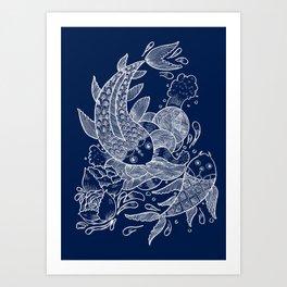 The Koi Fishes Art Print
