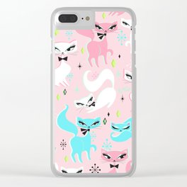 Swanky Kittens on Pink Clear iPhone Case