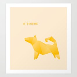 Let's Go Outside - Origami Yellow Dog Art Print
