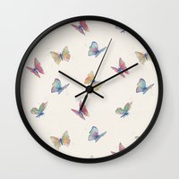 butterflies Wall Clocks featuring Butterflies by Tracie Andrews