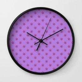 Burgundy Red on Lavender Violet Snowflakes Wall Clock
