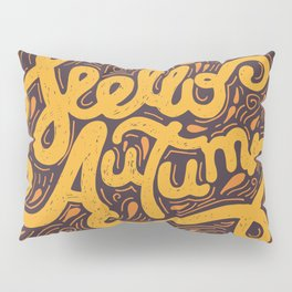 Hello Autumn handwritten lettering (brown) Pillow Sham