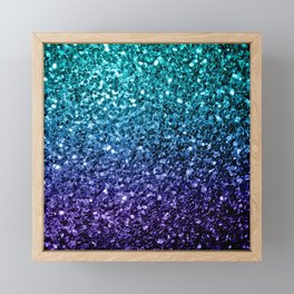 Beautiful Aqua blue Ombre glitter sparkles Framed Mini Art Print