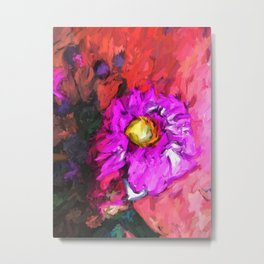 Purple and Yellow Flower with a Pink Floor Metal Print