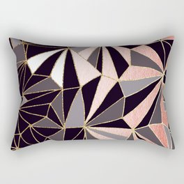 Stylish Art Deco Geometric Pattern - Black, Coral, Gold #abstract #pattern Rectangular Pillow
