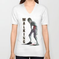 the walking dead V-neck T-shirts featuring Walking Dead by FulgenSHOW Art