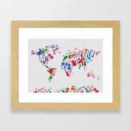 world map music 3 Framed Art Print