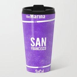 This is SF (Purple) Metal Travel Mug