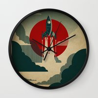 vintage floral Wall Clocks featuring The Voyage by Danny Haas