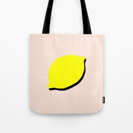 Minimal Lemon Print Tote Bag