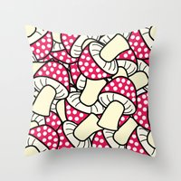 mushrooms Throw Pillows featuring mushrooms by zhbannikov