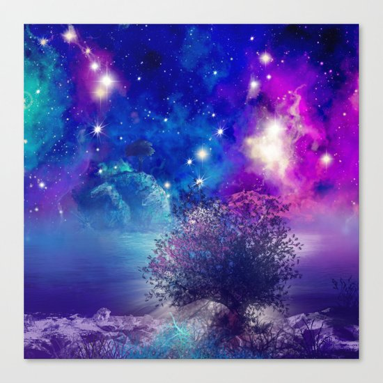 purple blue galaxy landscape Canvas Print