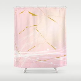 Rose Gold Marble Burst Shower Curtain