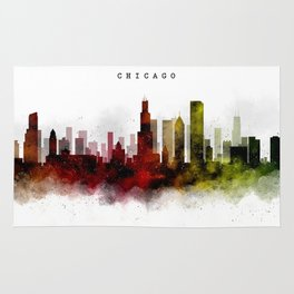 Chicago Watercolor Skyline Rug