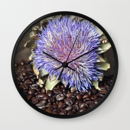 Fresh Coffee Beans & Blue Artichoke Wall Clock
