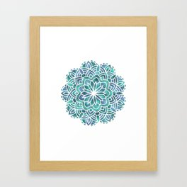 Mandala Succulent Blue Green Framed Art Print