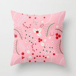 mistletoe Pink Throw Pillow