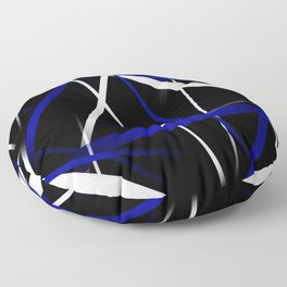 Seamless Royal Blue and White Stripes on A Black Background Floor Pillow