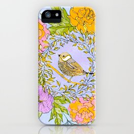 Spring Chickadee in Flowery Woodland Wreath iPhone Case
