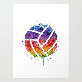 Volleyball Ball Colorful Watercolor Art Sports Gift Art Print