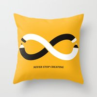 Throw Pillows featuring Never stop creating (the infinity pencil) by Picomodi