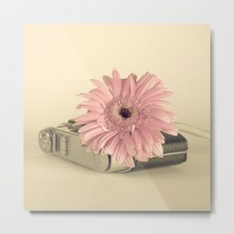 Pink flower over camera (Retro Still Life Photography)  Metal Print