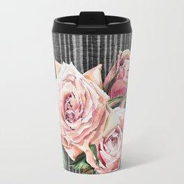 Watercolor Flowers on Dark Burned Wood Travel Mug
