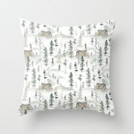 Hand painted brown forest green watercolor wood cabin trees Throw Pillow