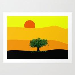 Tree in a yellow landscape Art Print