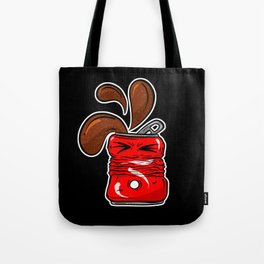 Sad Fizzy Crushed Cola Can Cartoon Caffeinated Tote Bag