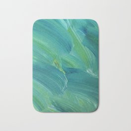 Blue-Green Brush Strokes Bath Mat