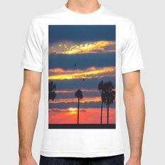Palm Tree Sunset White MEDIUM Mens Fitted Tee