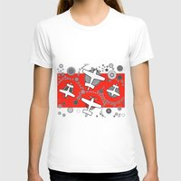 airplanes T-shirts featuring airplanes in red by Isabella Asratyan