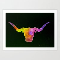 Tie Dye Longhorn Art Print