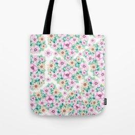 Elegant blush pink green hand painted watercolor floral pattern Tote Bag