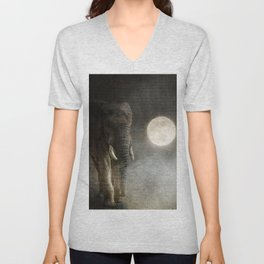 Elephant Moon Unisex V-Neck