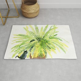 Cat and Fern Rug