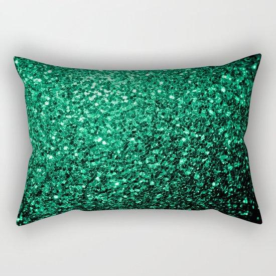Beautiful Emerald Green glitter sparkles Rectangular Pillow