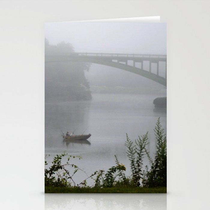 Foggy Fishing Day on the Delaware River Stationery Cards