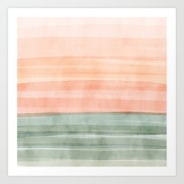Soft Green Waves on a Peach Horizon, Abstract _watercolor color block Art Print