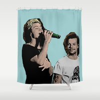 larry Shower Curtains featuring Pop Art Larry Stylinson  by JodiYoung